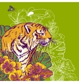 Tropical Exotic Floral Background with Tiger vector image vector image
