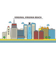 virginia virginia beachcity skyline architecture vector image vector image