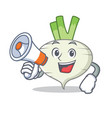 with megaphone turnip character cartoon style vector image vector image