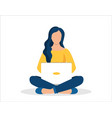 woman with laptop sitting in nature vector image vector image