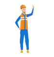 young caucasian builder pointing forefinger up vector image vector image
