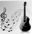 Abstract music background with guitar and notes vector image