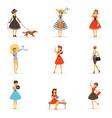 retro girls characters set beautiful young women vector image