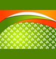 st patrick day background with irish flag colors vector image