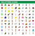 100 attire icons set cartoon style vector image