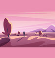 alone young man looking on sunset landscape vector image