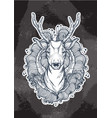 beautiful hand-drawn tribal style deer over the vector image