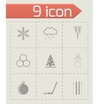 black winter icon set vector image