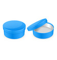 blue box round hat box open and closed empty vector image vector image