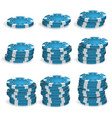 blue poker chips stacks 3d realistic vector image vector image