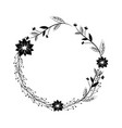 branches with leaves and flowers decoration vector image vector image