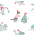 christmas seamless pattern with dino holiday print vector image vector image