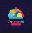 colorful ice cream on dark background vector image vector image