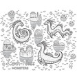 contour loch ness monsters and decorative hills in vector image vector image