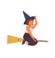 cute girl in witch hat flying on broomstick happy vector image