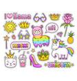cute rainbow llama alpaca magic unicorn cat vector image