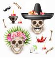 dia de los muertos day dead skull flower vector image