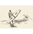 Drawn man sitting beach surfboard sketch vector image