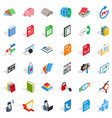 elearning icons set isometric style vector image vector image