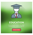 Flat design concept for education with blur vector image