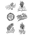 flower shop emblems and logo vintage bouquet vector image vector image