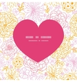 flowers outlined heart silhouette pattern vector image