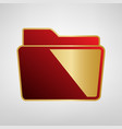 folder sign red icon on gold vector image vector image