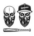 Gangster skull in baseball cap and bandana on face