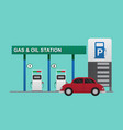 gas station pump with red car vector image vector image
