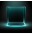 Glass Box on Dark Background with Blue Backlight vector image vector image