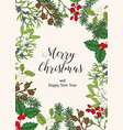 hand drawn christmas card with winter plants vector image vector image