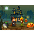 happy halloween witch and pumpkin mask in front of vector image vector image