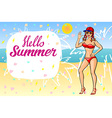 Hello summer lettering and Woman Sitting on Sand vector image vector image