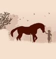 horse and girl vector image vector image