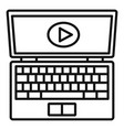 laptop online learning icon outline style vector image