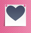 Love photo frame on wall with pink pins on pink vector image