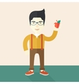 Man holding apple vector image vector image