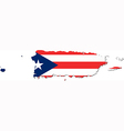 Map of Puerto Rico with flag vector image vector image