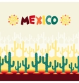 Mexican seamless pattern with cactus in native vector image vector image