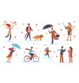 people in autumn men women and kids vector image vector image