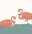 perfect simple design with two pink flamingos vector image