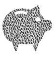 piggy bank composition of dollar and dots vector image