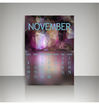 Polygonal 2016 calendar design for NOVEMBER vector image vector image