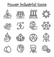 power energy industrial icon set in thin line vector image vector image