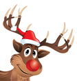 Rudolph the reindeer with red nose and hat vector image vector image