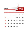 simple calendar 2016 year march month vector image vector image