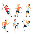soccer characters playing football isolated sport vector image