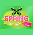 spring best offer sale sticker of green dragonfly vector image