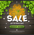 st patricks day sale design with green clover vector image vector image