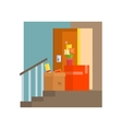 Staircase With Half Painted Wall vector image vector image